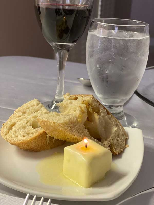 """Micro"" Dinner Party - Butter Candle with Bread"